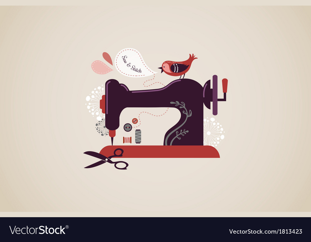 Vintage Sewing Machine Royalty Free Vector Image Gorgeous Sewing Machine Vector Free