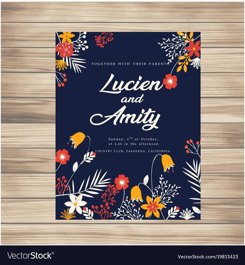 Wedding invitation with flowers dark blue backgrou vector image