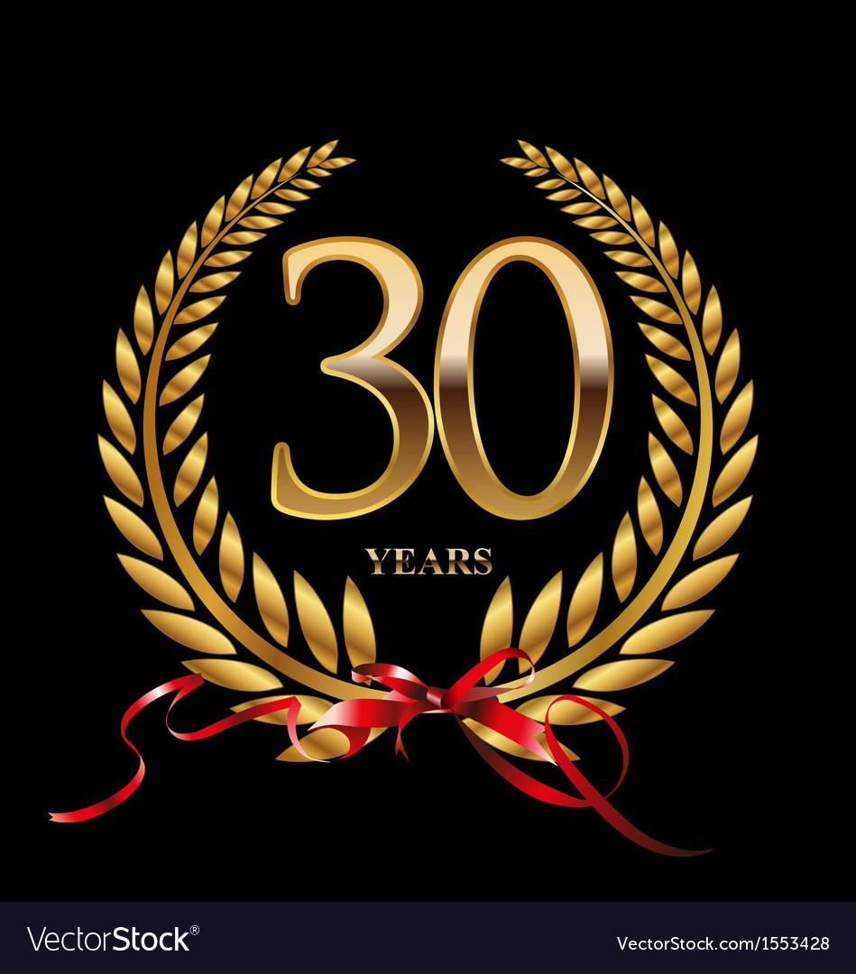 30 years anniversary laurel wreath vector image