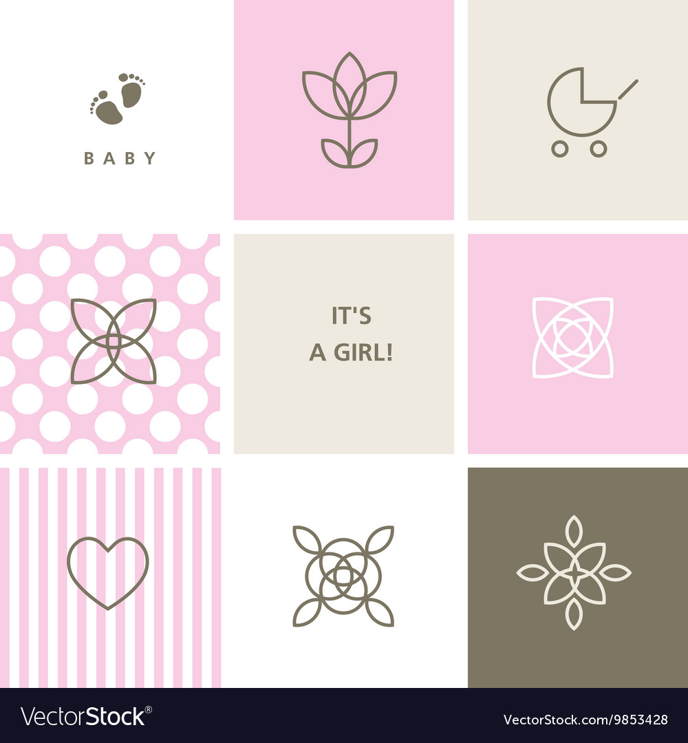 Baby shower design elements for baby shower vector image