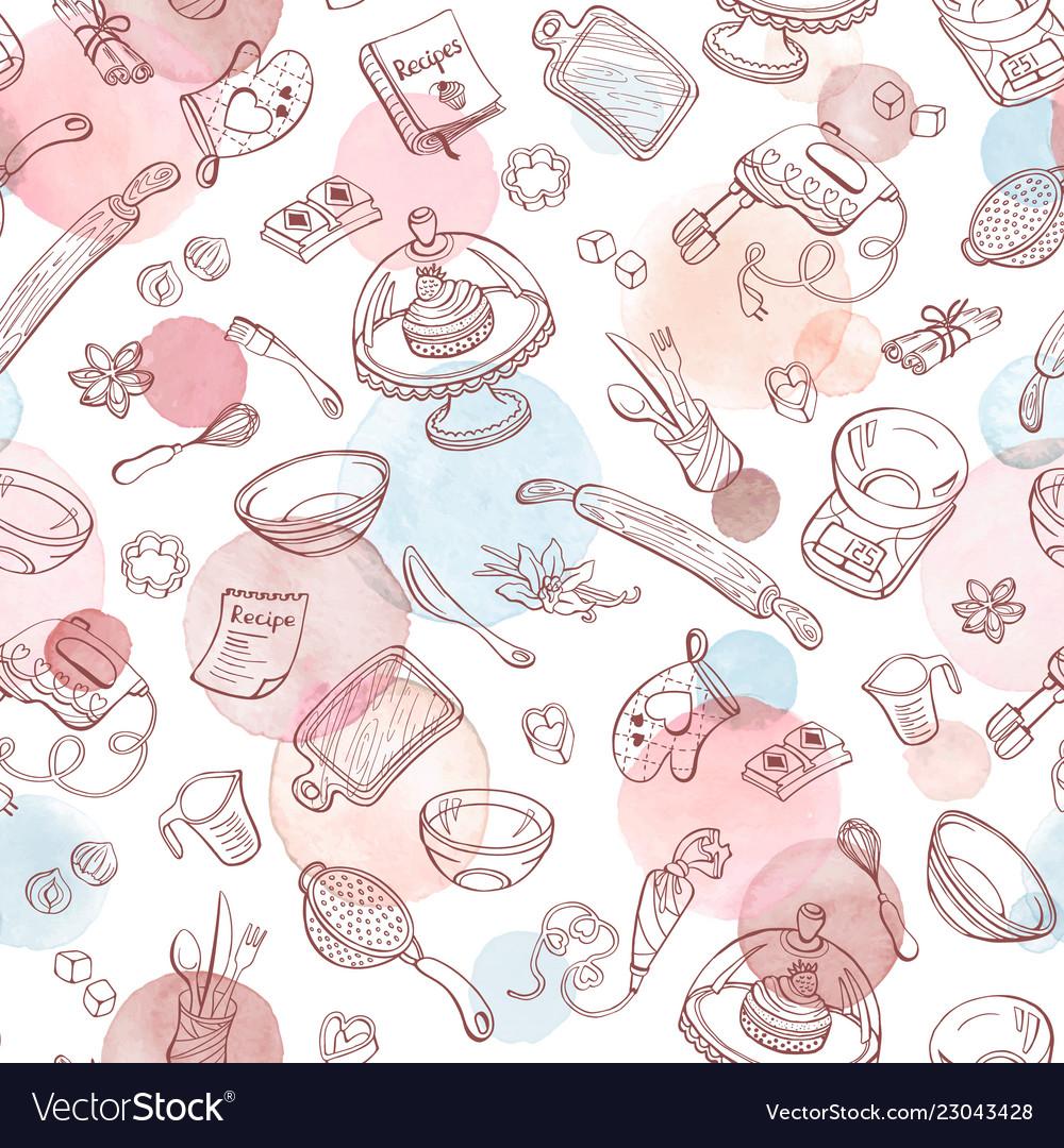 Baking watercolor pattern