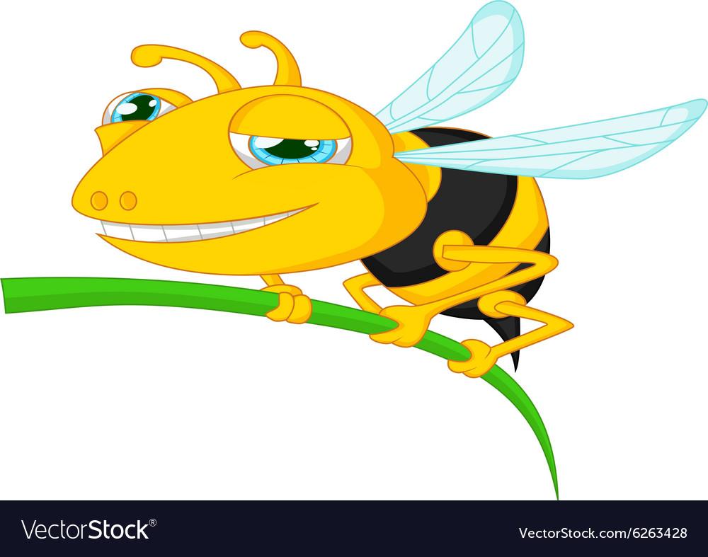 Bee cartoon holding tree
