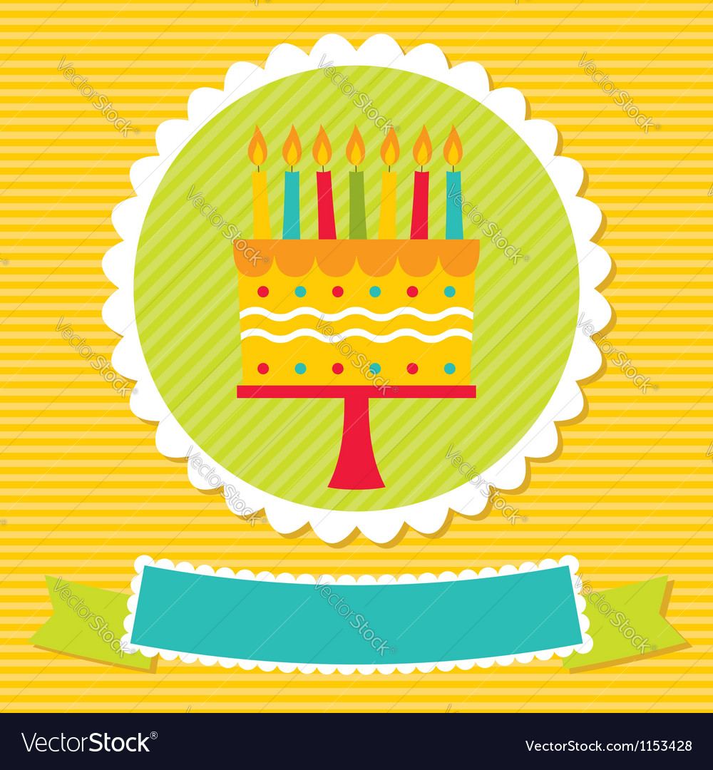 Birthday card with a cake and candles