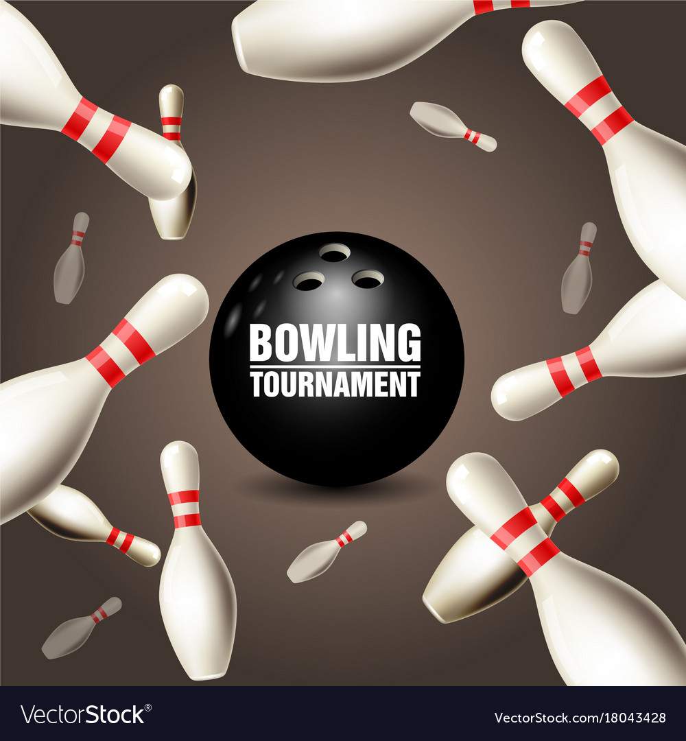 Bowling tournament invitation card - frame Vector Image
