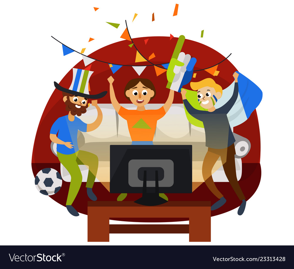 Terrific Cartoon Football Party At Home In Cozy Atmosphere Download Free Architecture Designs Fluibritishbridgeorg
