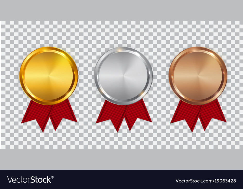 f989e0427a12 Champion gold silver and bronze medal template Vector Image