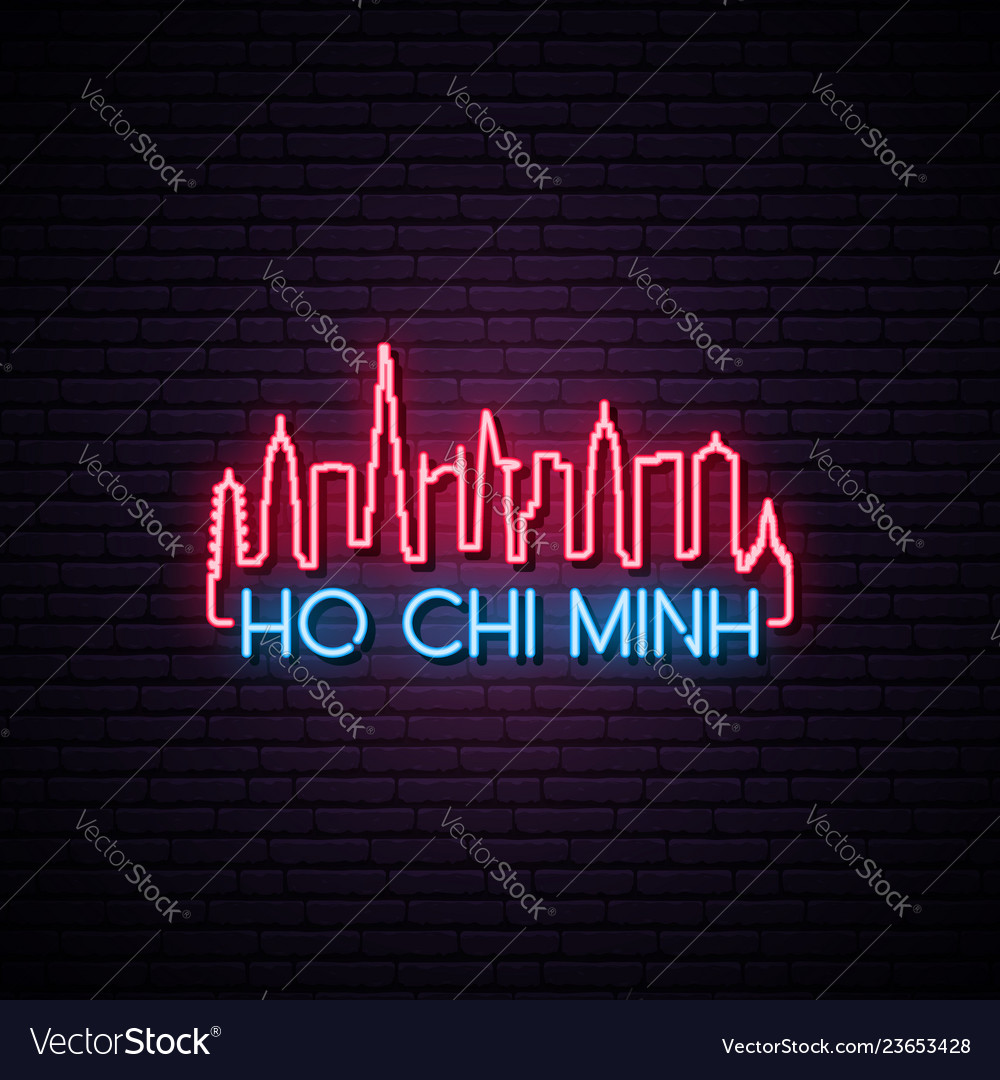 Concept neon skyline of ho chi minh city