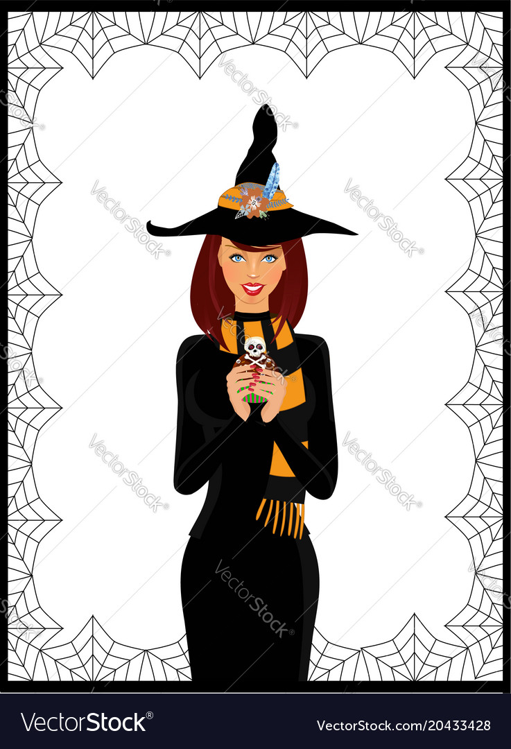 halloween of young witch in long black dress vector image