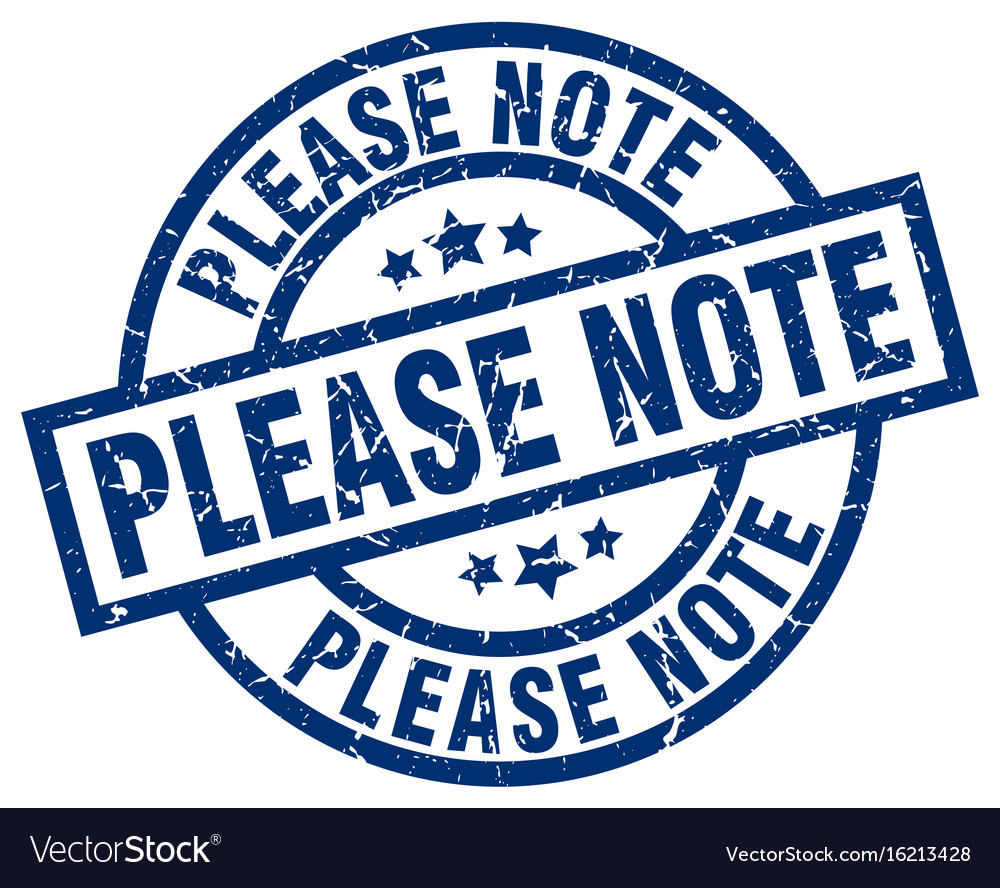 Please note blue round grunge stamp