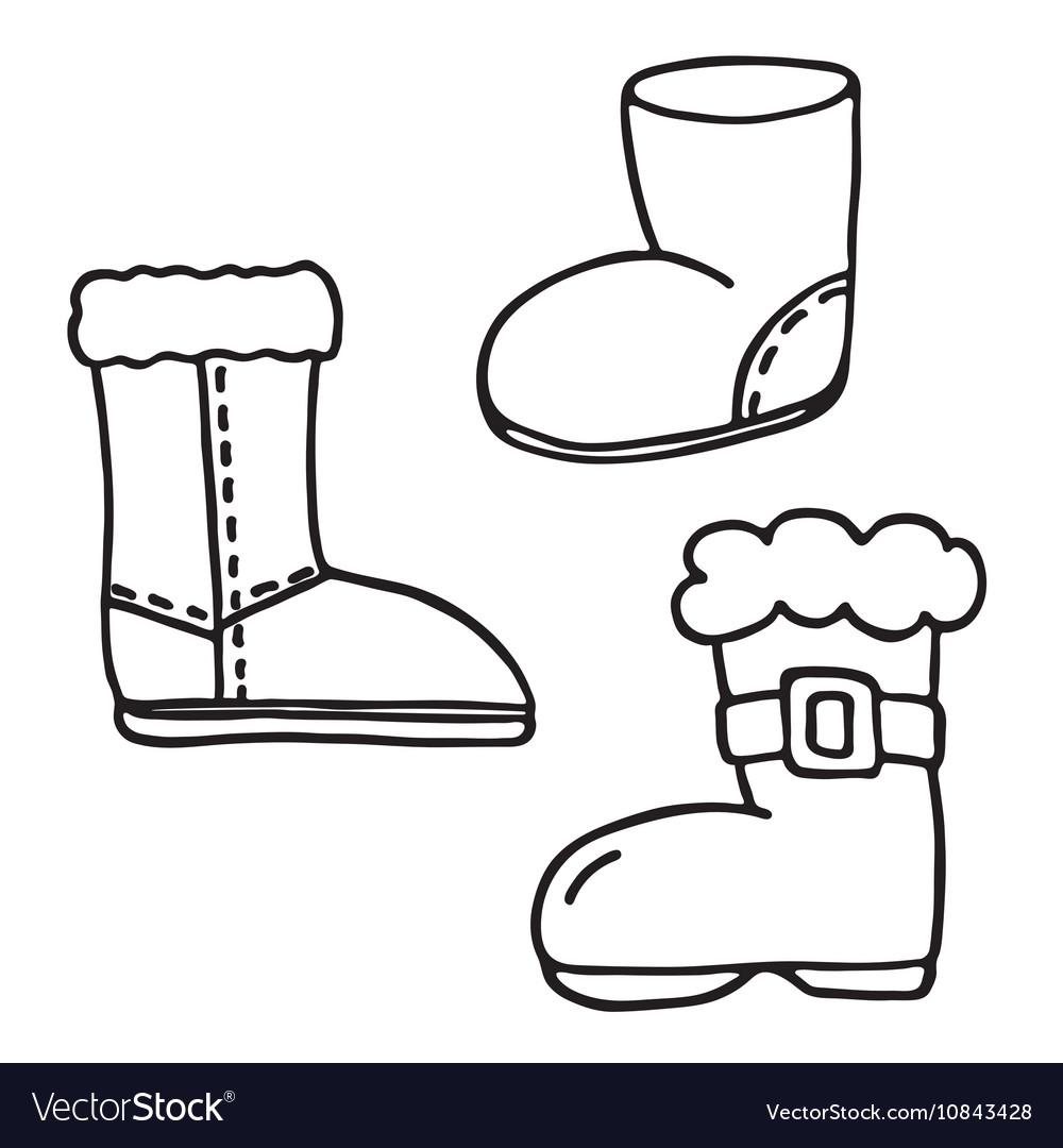 santa boot icons set vector image