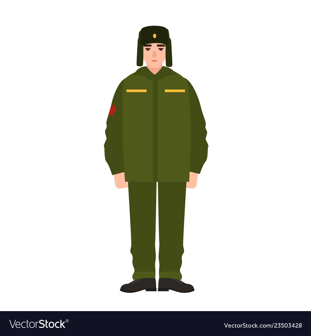 Soldier of russian armed force wearing army winter