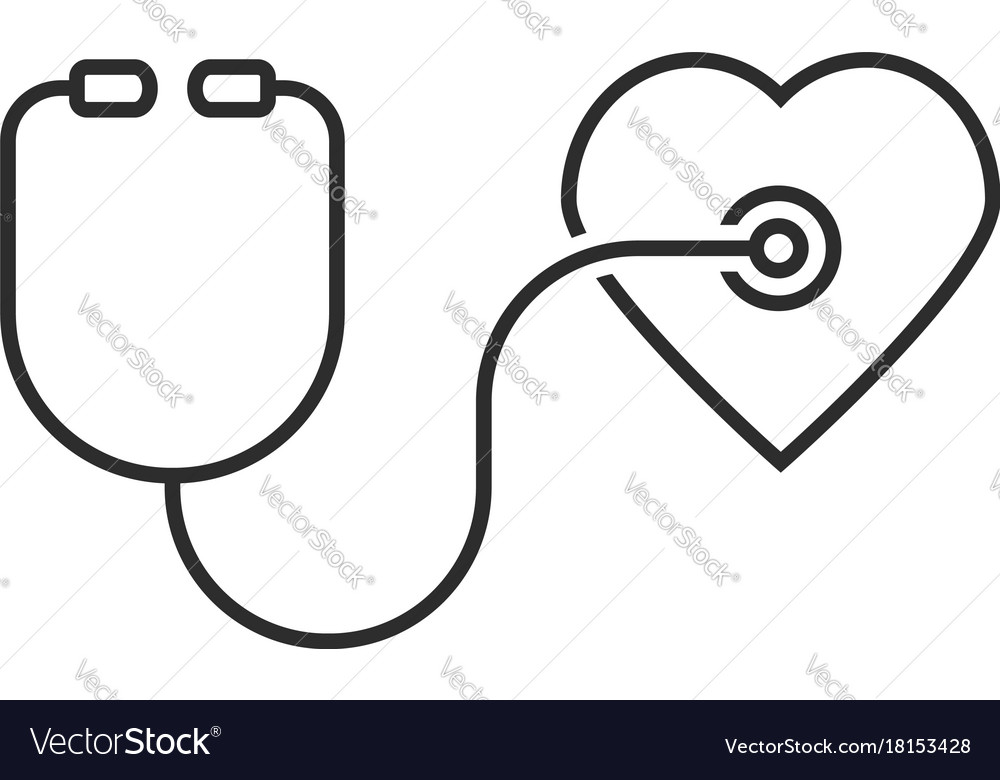 Thin line stethoscope heart