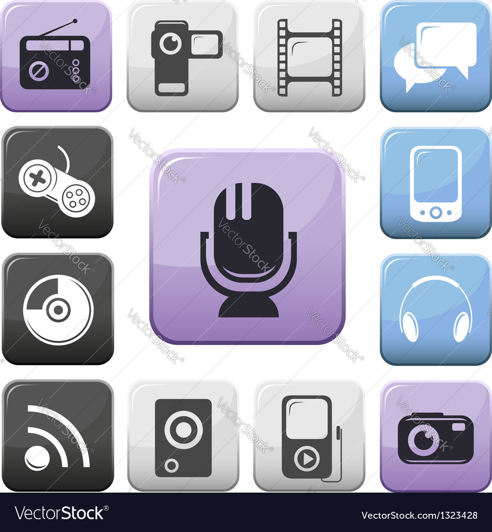 Video audio and multimedia buttons set