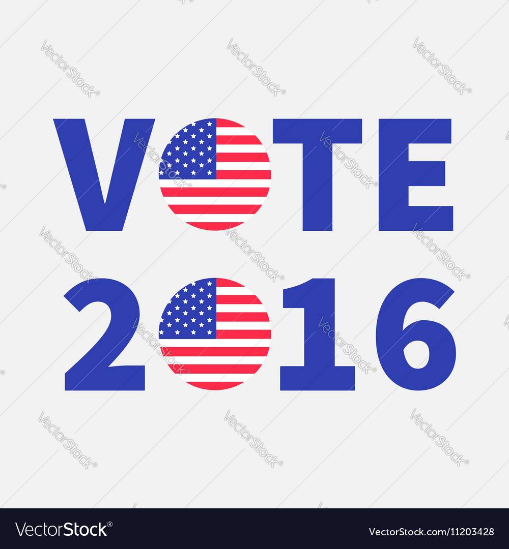 Vote 2016 text Blue badge button icon with