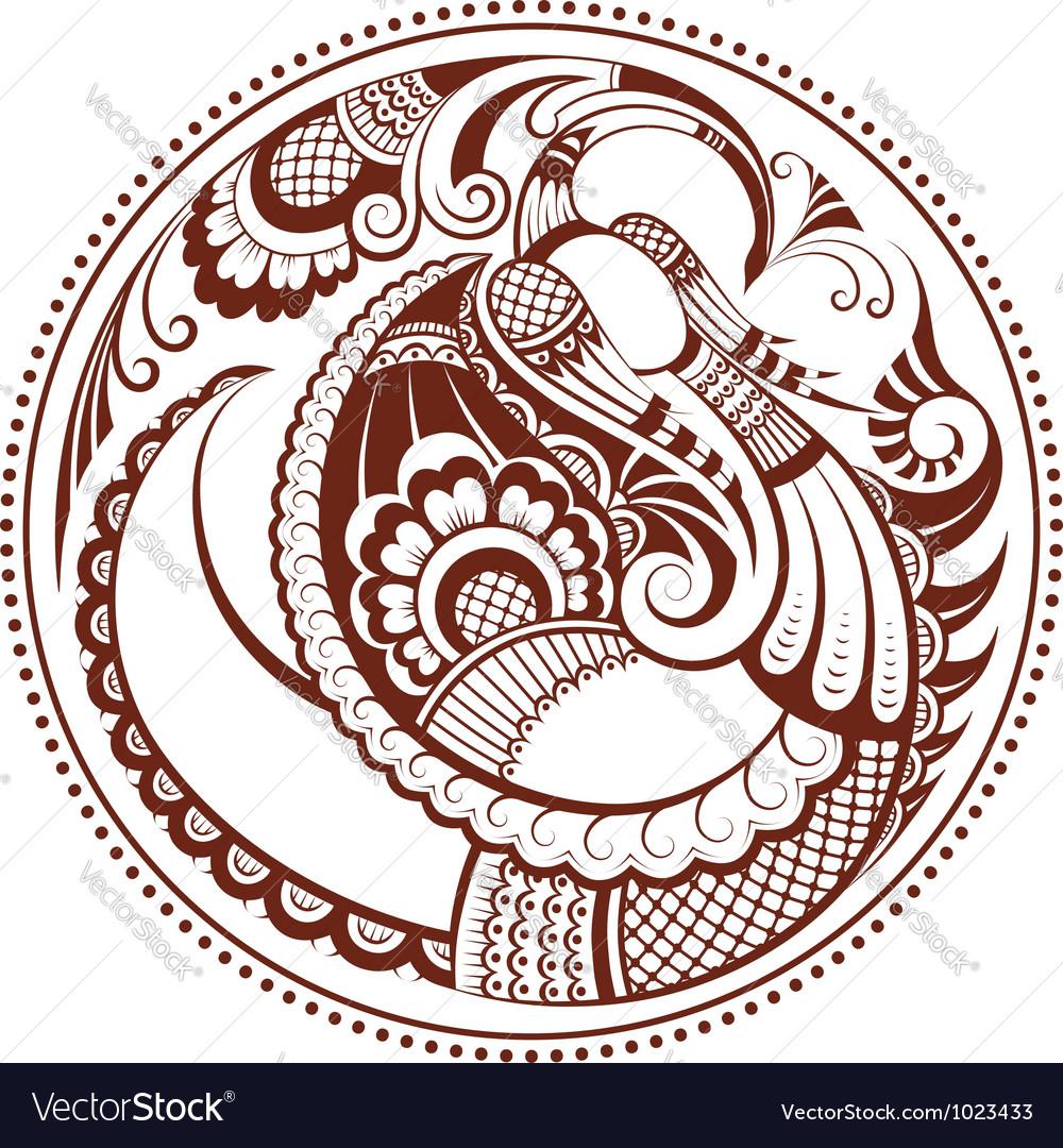 Abstract phoenix bird pattern in mehndi style vector image