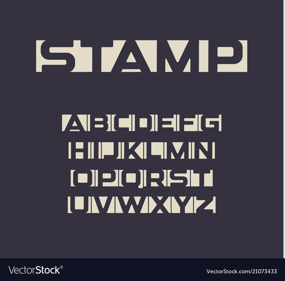 Applique Font Negative Space Letters Set Unusual Vector Image