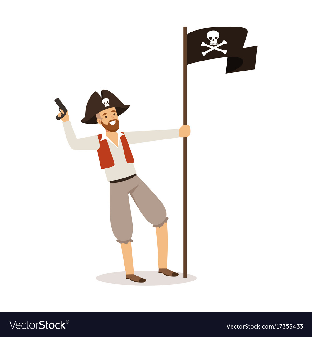 Brave pirate character with jolly roger flag