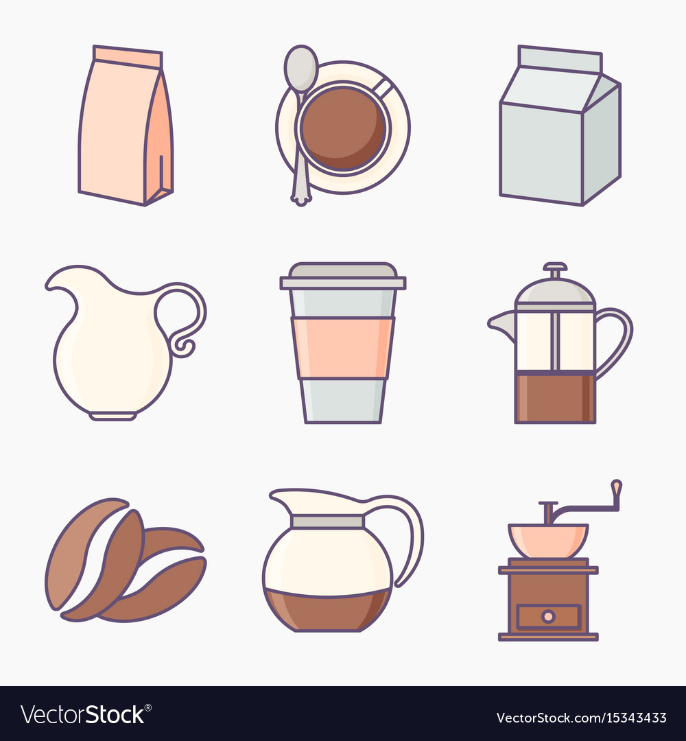 Collection of coffee icons vector image