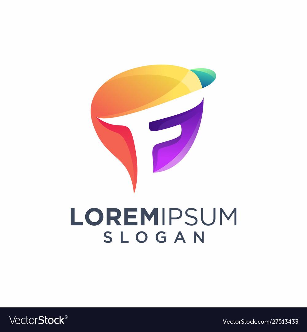Colorful awesome letter f logo design illus