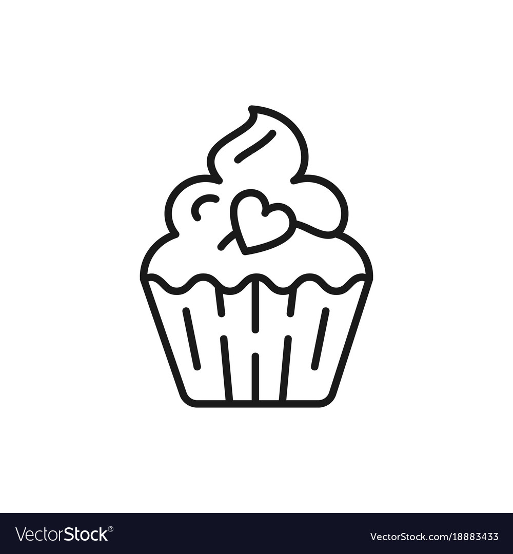 Cupcake Icon Birthday Icon Symbol Of Holiday And Vector Image On Vectorstock