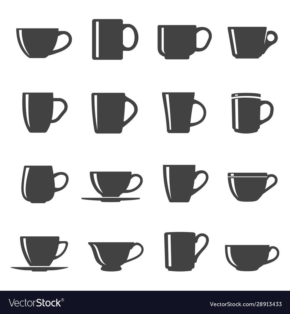 Cups black and white glyph icons set