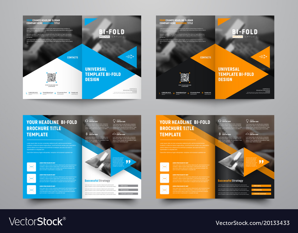 Design A Bi Fold Brochure With Triangular Colored Vector Image