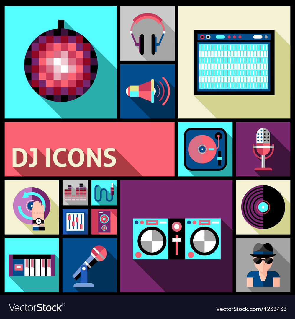 Dj Icon Set vector image