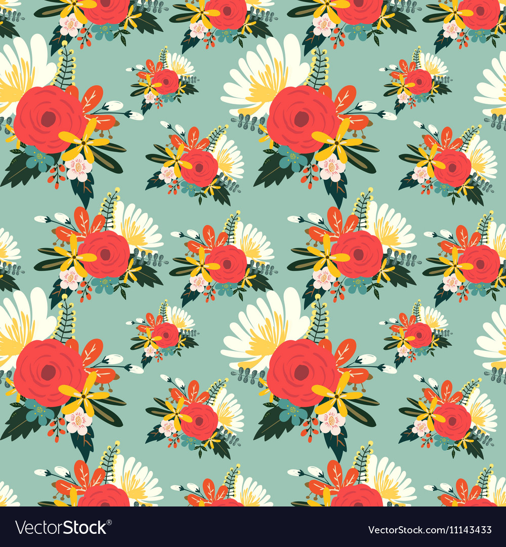 Flower seamless pattern vintage style