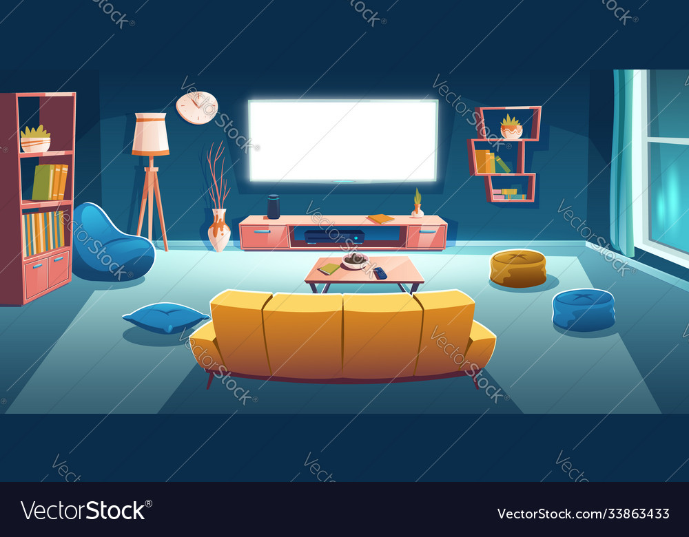 Living Room Interior With Tv Sofa At Night Time Vector Image