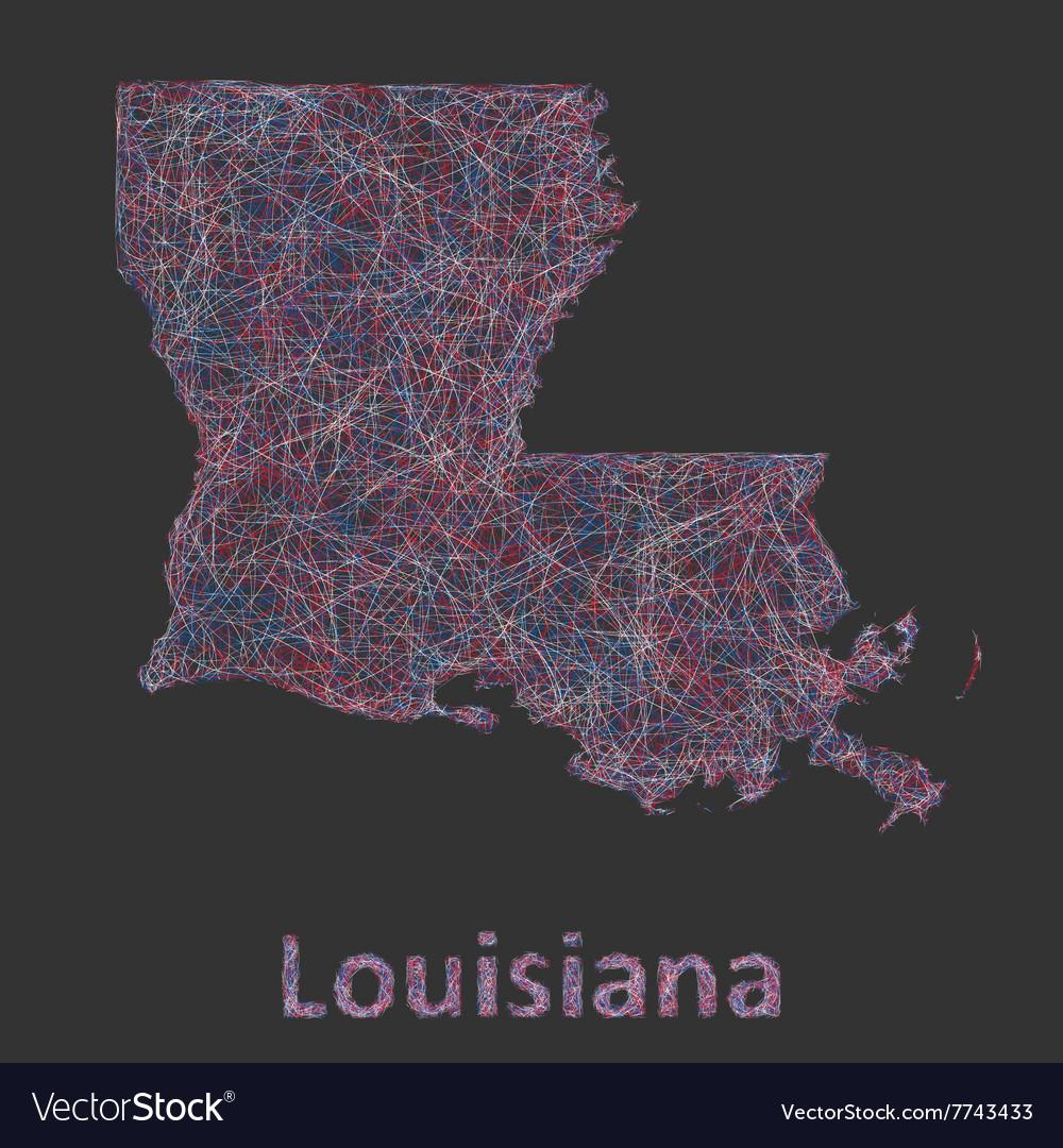 Louisiana line art map