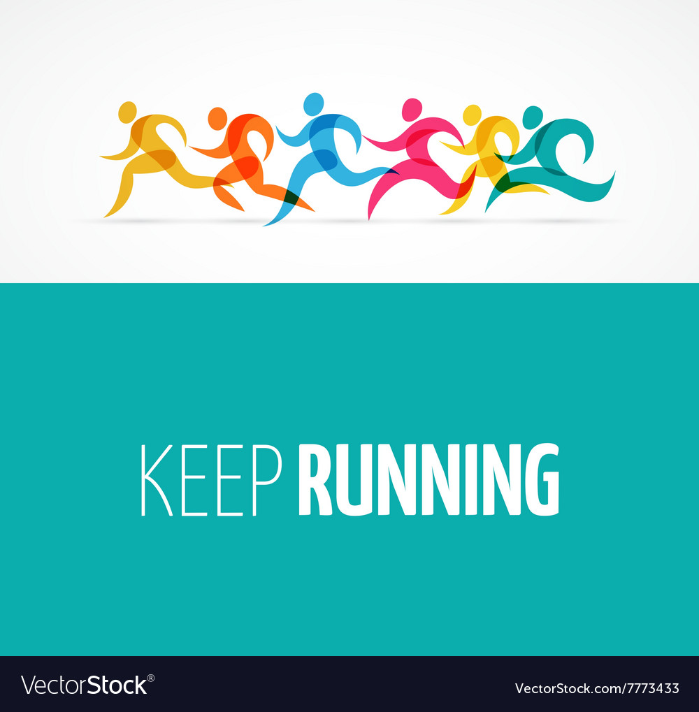Running marathon colorful people icons and symbols
