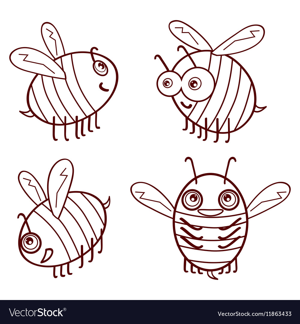 Set cartoon outline cute bees isolated on white