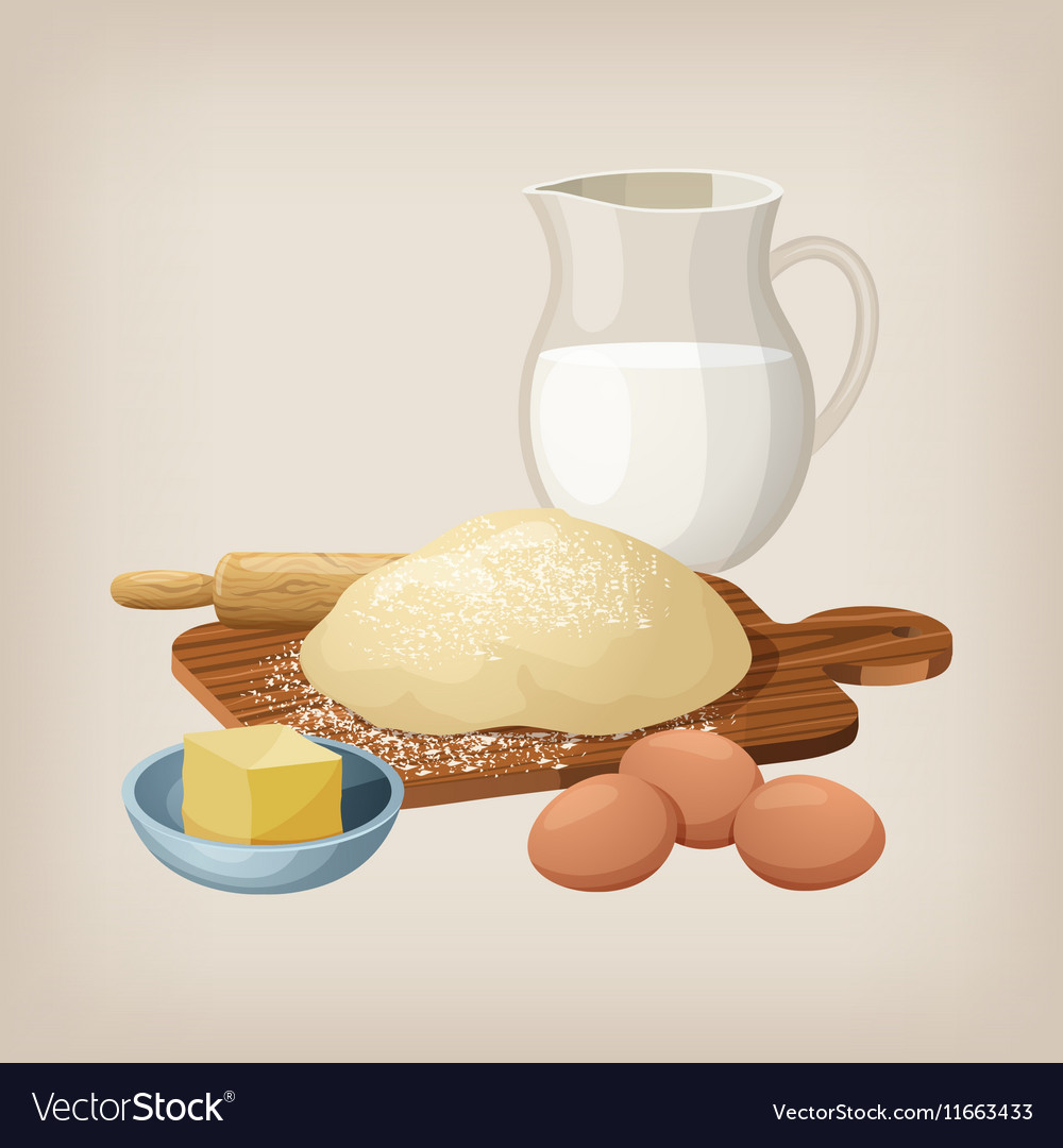The dough on the board with a rolling pin Eggs