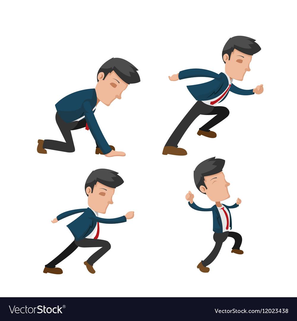 Business Man Cartoon Action Run