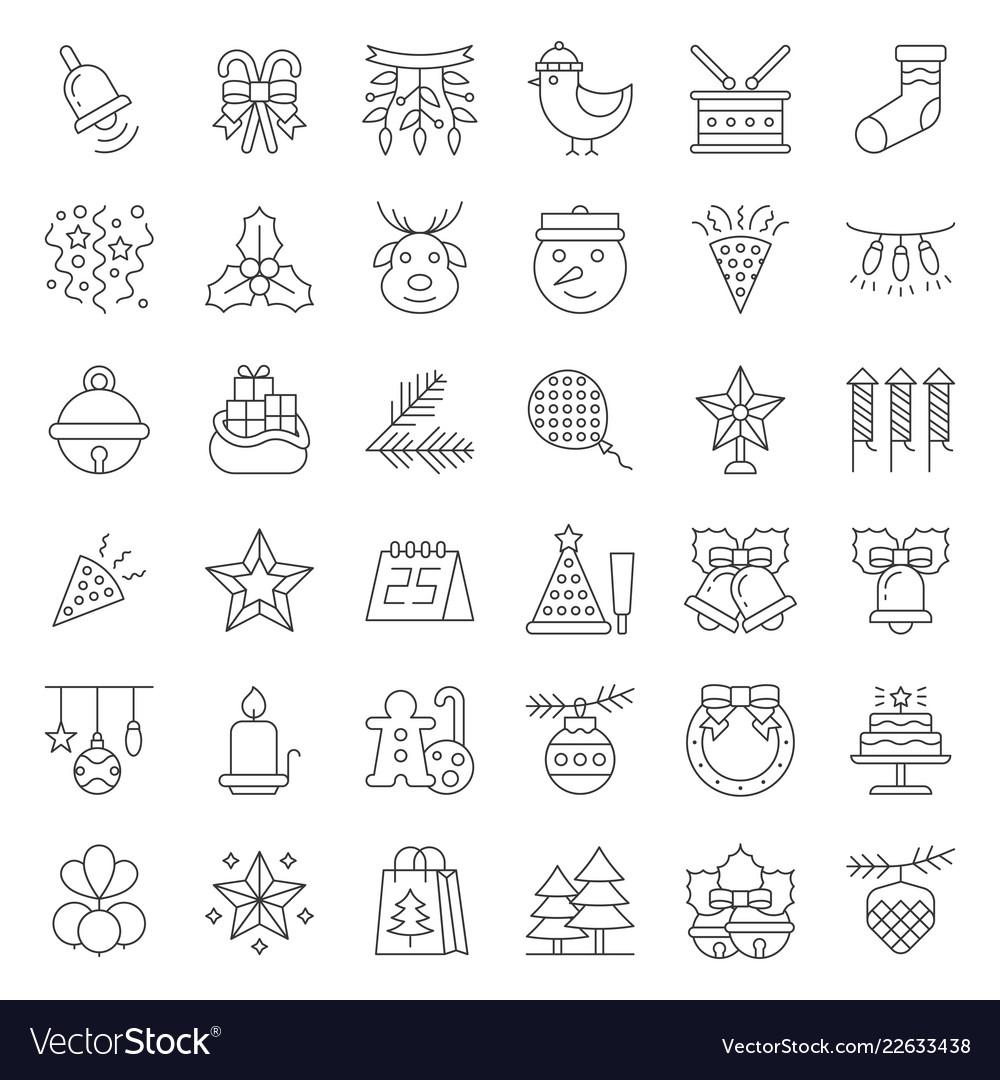 Christmas ornaments icon set editable stroke