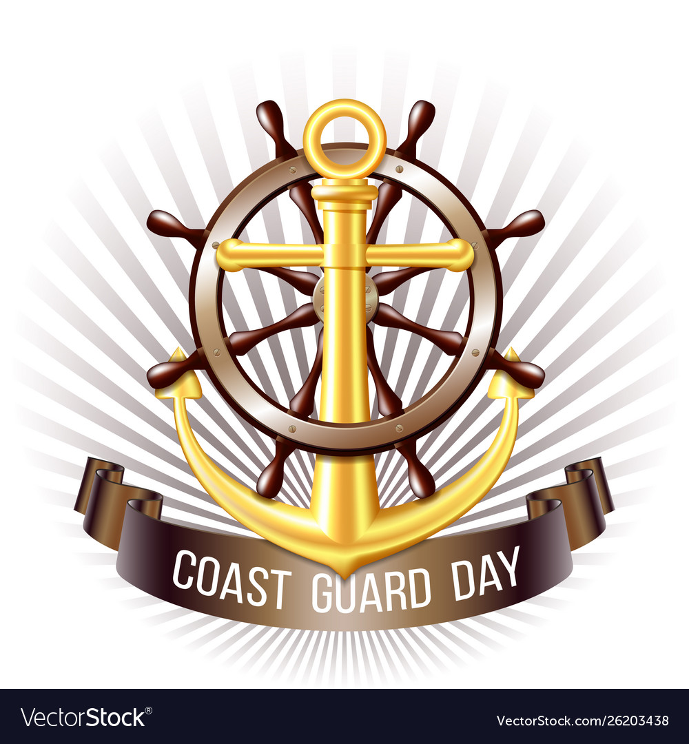 Coast guard day greeting card nautical emblem
