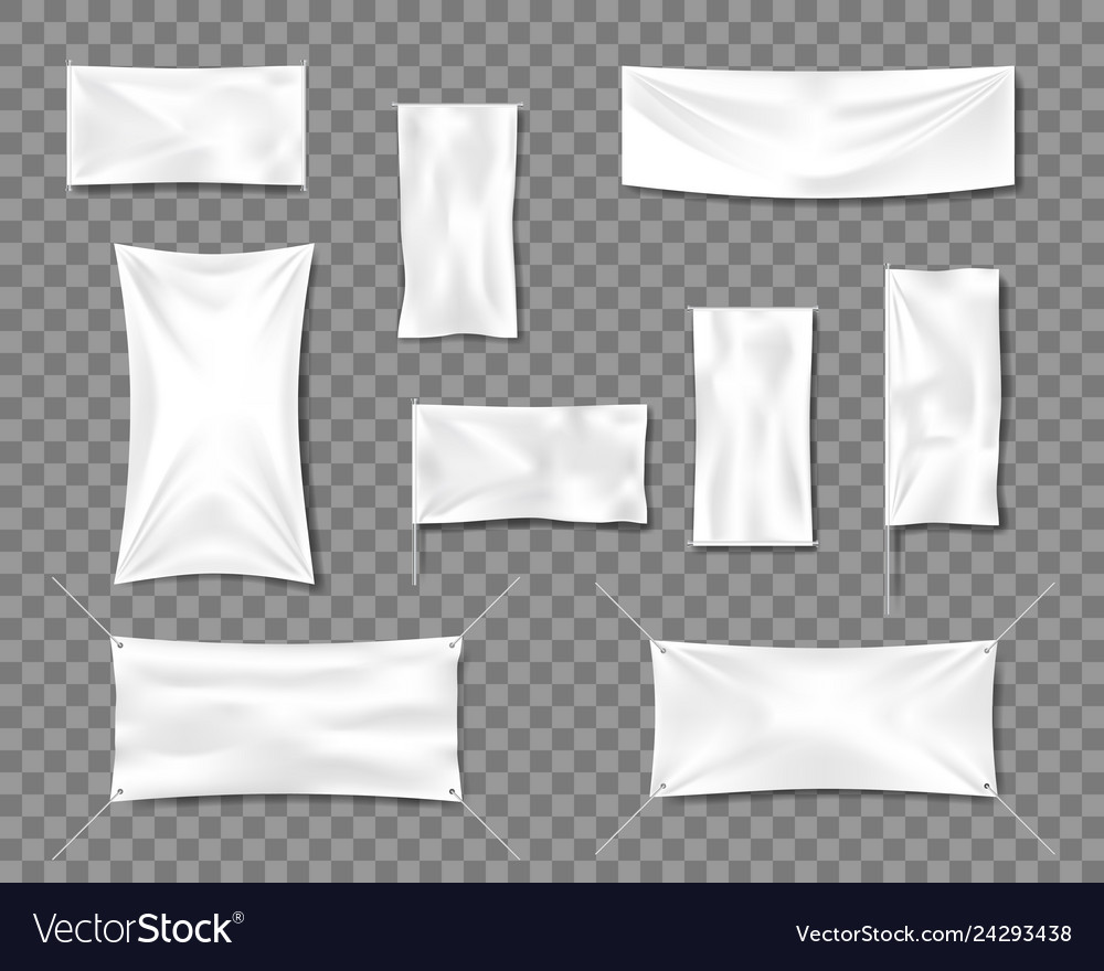 Cotton white empty smooth flag poster or placard