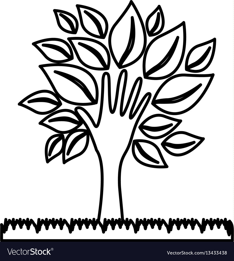 Figure tree with leaves and grass icon