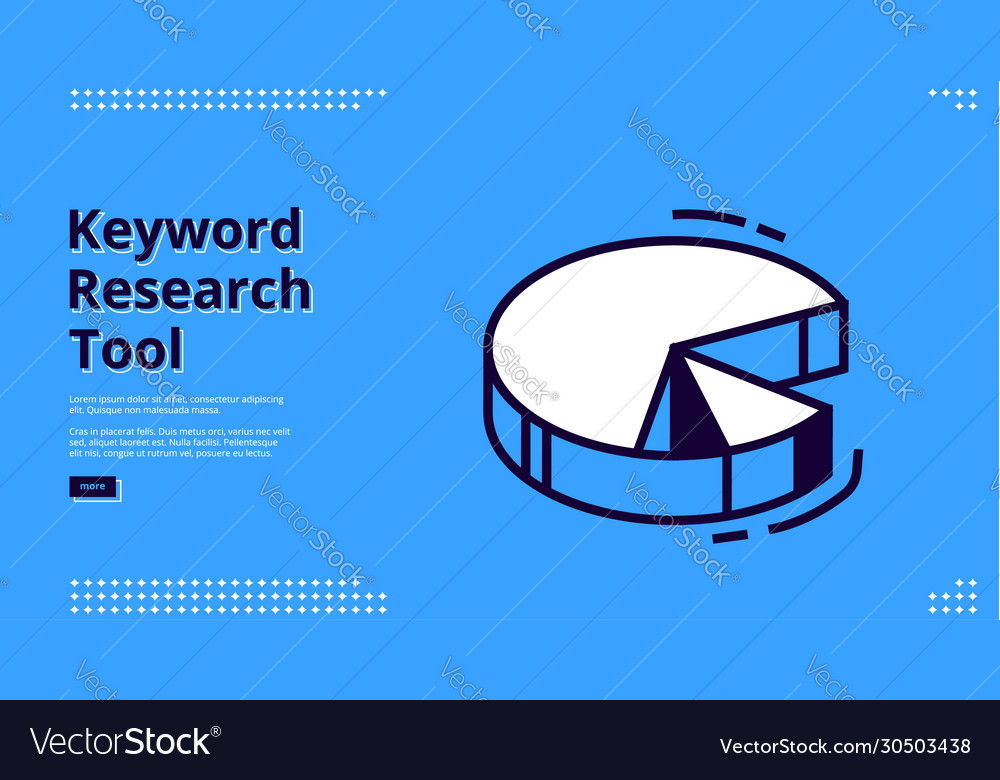 Keyword research tool banner with isometric chart