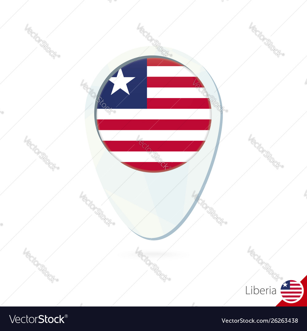 Liberia flag location map pin icon on white