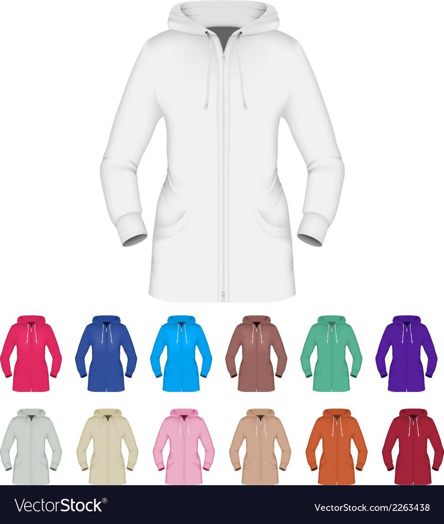 Plain hooded jacket template vector image