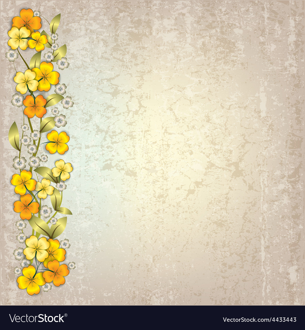 Abstract Grunge Grey Background With Spring Yellow