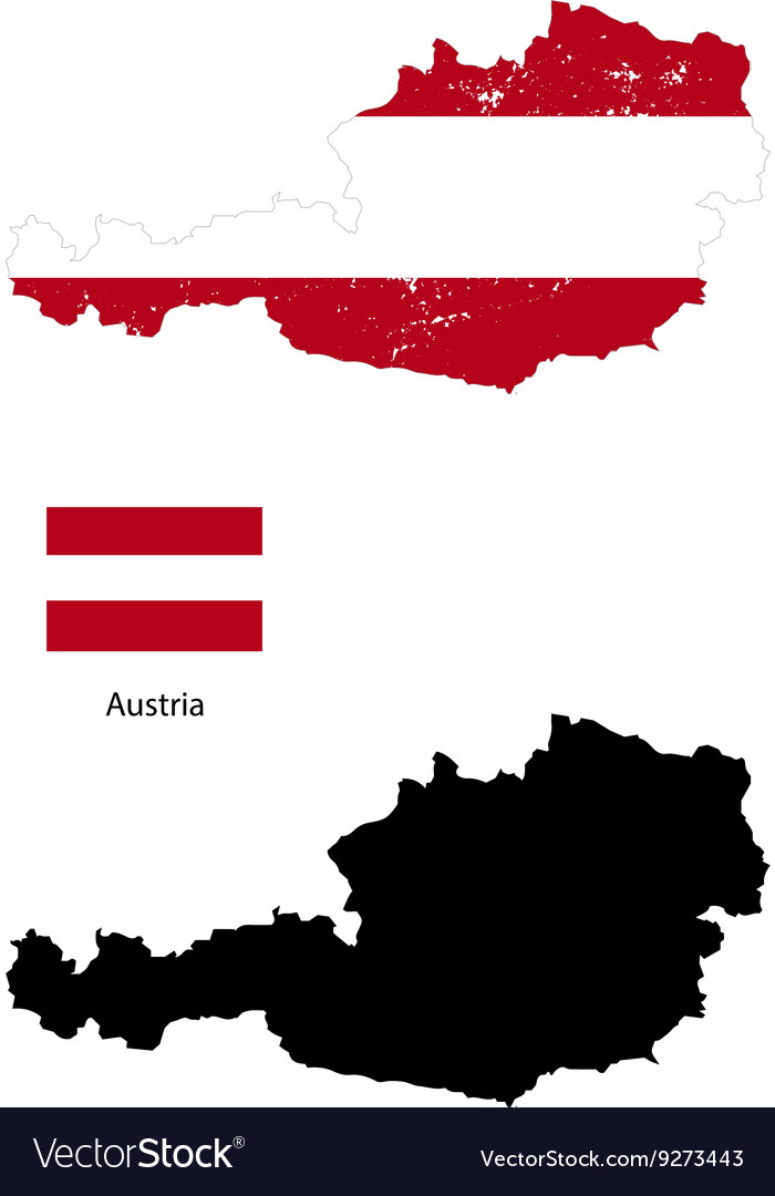 Austria country black silhouette and with flag on