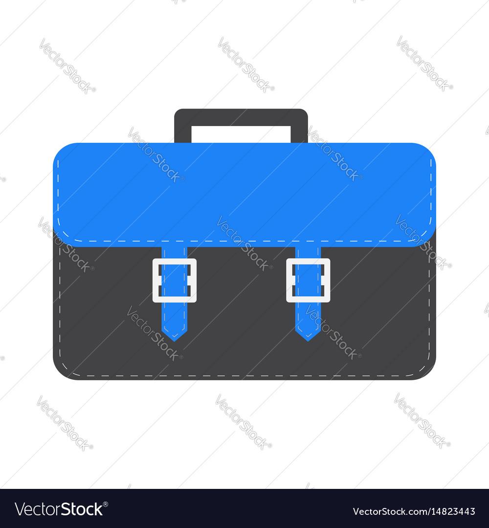Big black and blue schoolbag briefcase icon vector image