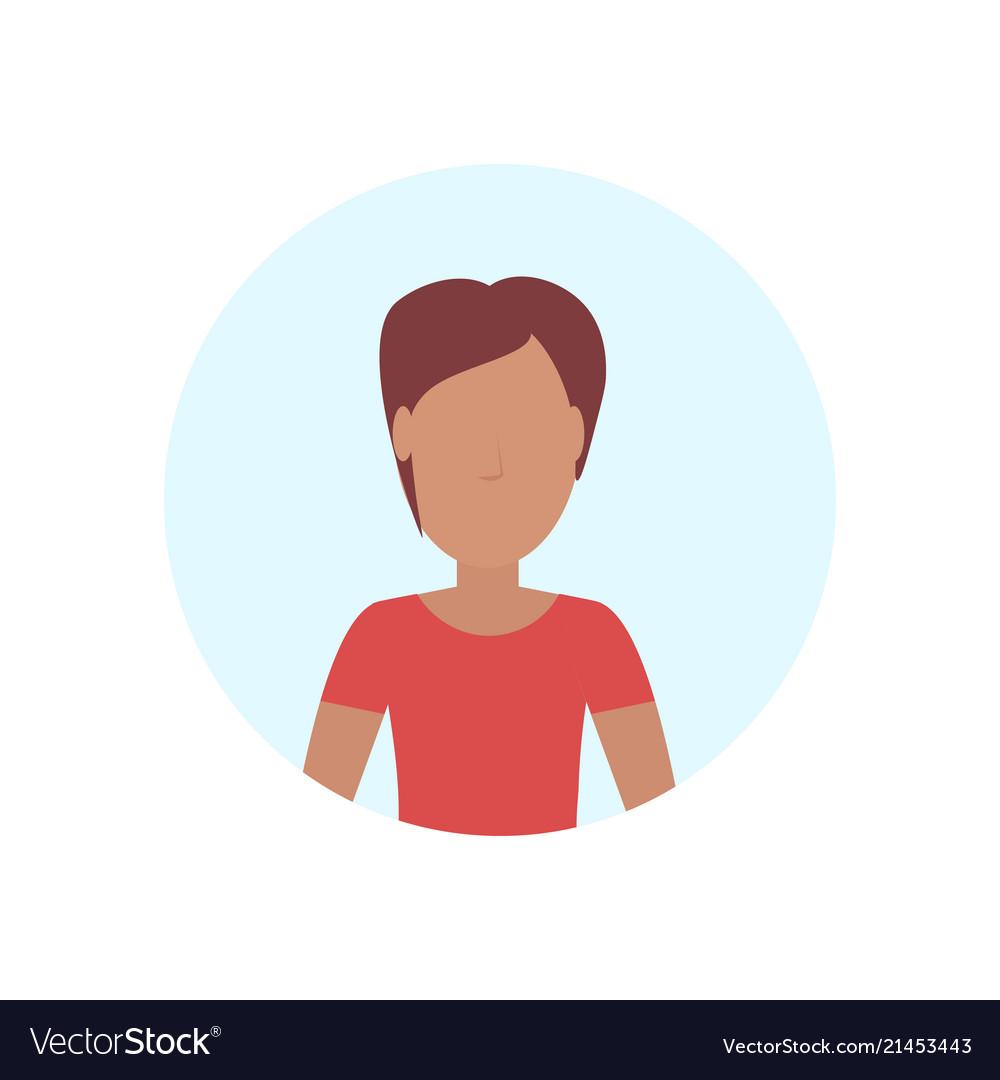 Brown hair woman avatar isolated faceless female