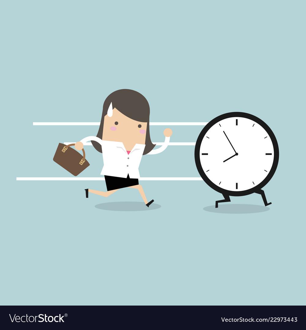 Businesswoman run follow the clock