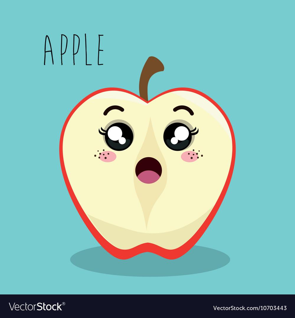 Cartoon apple slice fruit facial expression design vector image