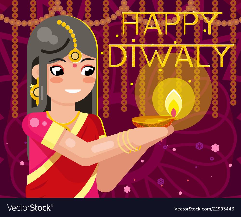 Happy diwali cute indian girl woman in native