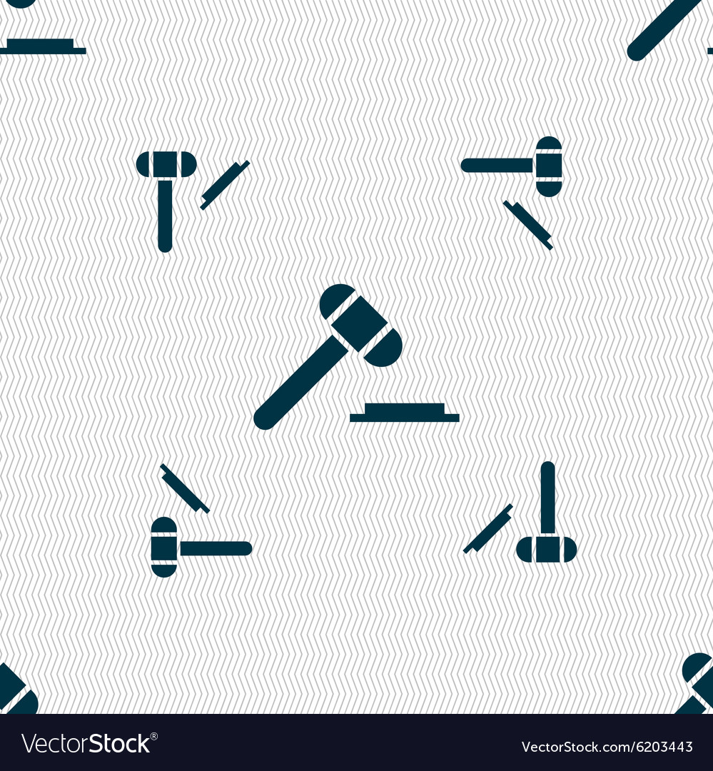 Judge hammer icon Seamless pattern with geometric