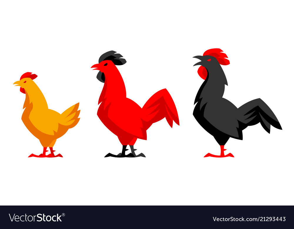 Set variety chicken silhouettes